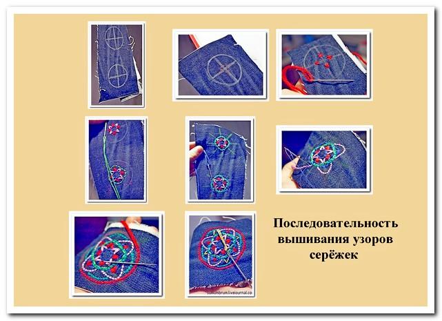 Вышивание узоров сережки