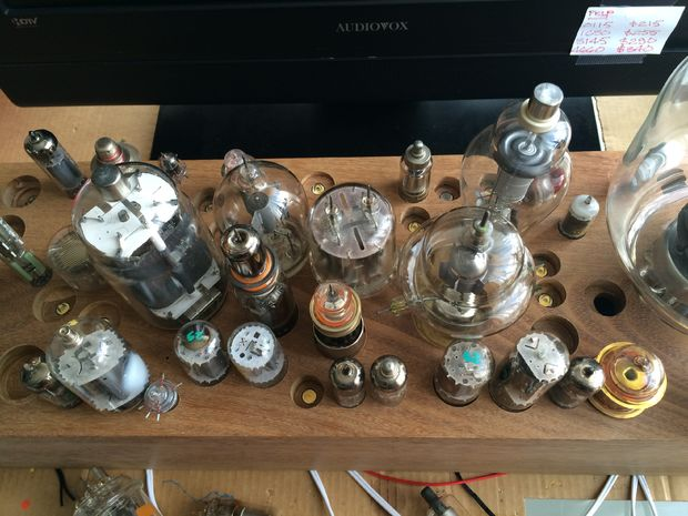 Huge vacuum tube light fixture.