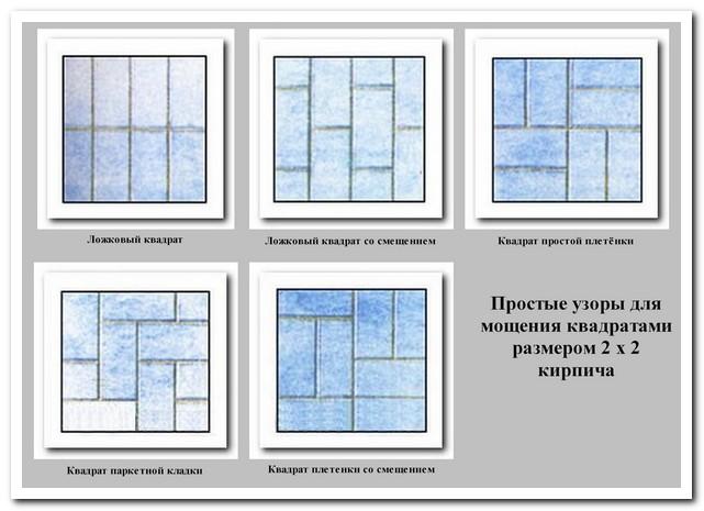 Простейшие квадратные узоры из кирпича