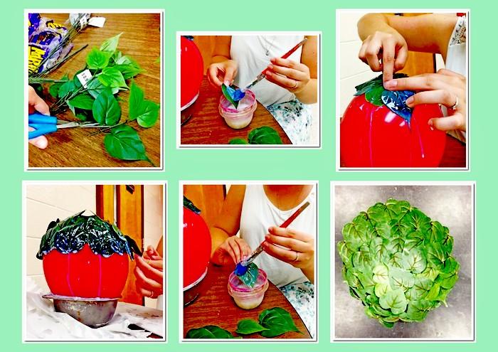 Изготовление чаши из листьев