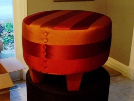 Upholster an Ottoman with A Vintage Plaid Skirt